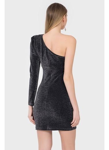 İroni Mini Abiye Elbise Siyah